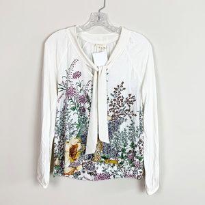 Anthropologie   tie neck long sleeve blouse M